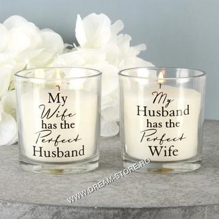 Set 2 lumanari Perfect Wife & Husband cadou cuplu,