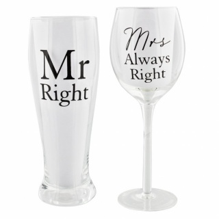 pahare bere si vin Mr. Right & Mrs. Always Right