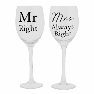 pahare vin Mr.Right&Mrs.always Right