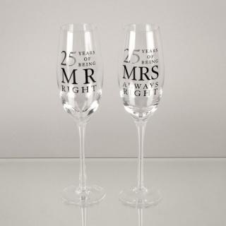 Cadou nunta de argint set pahare sampanie 25 ani mr and mrs right