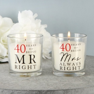 "Set 2 lumanari 40 ani de casnicie ""mr. right & mrs always right"""
