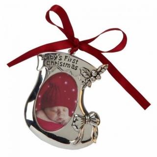 Ornament argintat cizmulita, cu poza Primul craciun al bebelusului