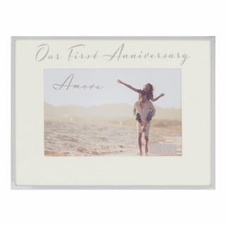 Rama foto argintata cadou pentru aniversare 1 an casatorie