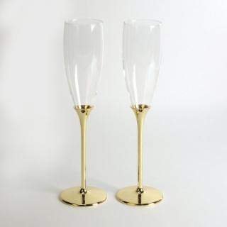 Set pahare sampanie placate cu aur cadou aniversare casatorie