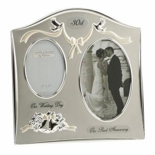 Rama foto argintata cadou nunta de perla 30 ani casatorie