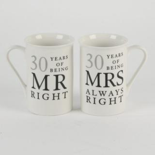"""Set cani cadou aniversare 30 ani de casatorie """"mr&mrs right"""""""