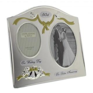 Rama foto argintata cadou nunta de aur aniversare 50 ani de casatorie