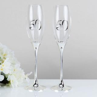 Set pahare argintate aniversare 50 ani casatorie