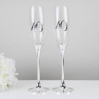 Set pahare argintate aniversare 40 ani casatorie