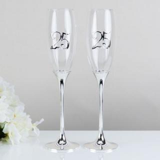 Set pahare argintate aniversare 25 ani casatorie