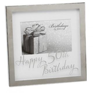 Rama foto argintata cu sticla inscriptionata 50