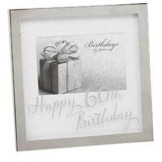 Rama foto argintata cu sticla inscriptionata 60