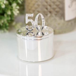 Cutiuta bijuterii argintata cu cristale cadou 50 ani