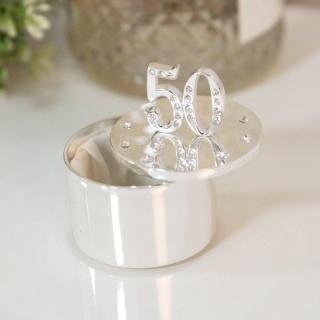 Cutiuta bijuterii argintata cu cristale 50 ani