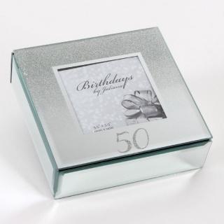 Caseta bijuterii din sticla tip oglinda cadou 50 ani